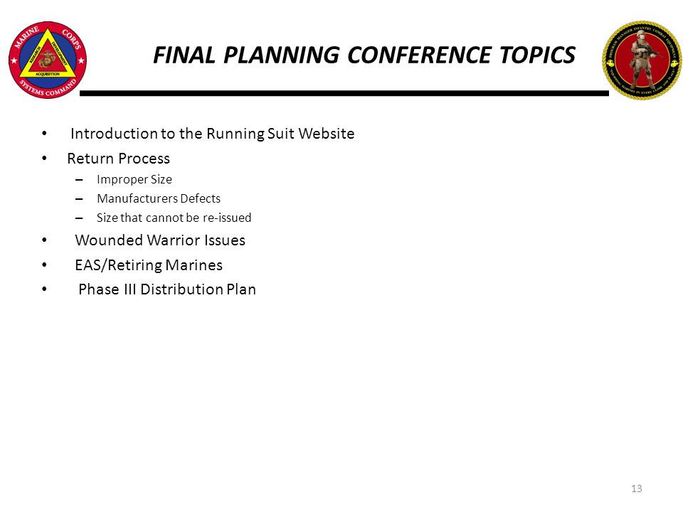 FINAL PLANNING CONFERENCE TOPICS