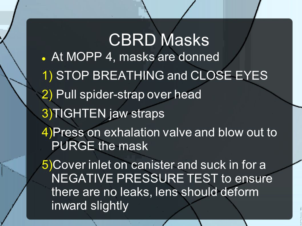 CBRD Masks At MOPP 4, masks are donned STOP BREATHING and CLOSE EYES
