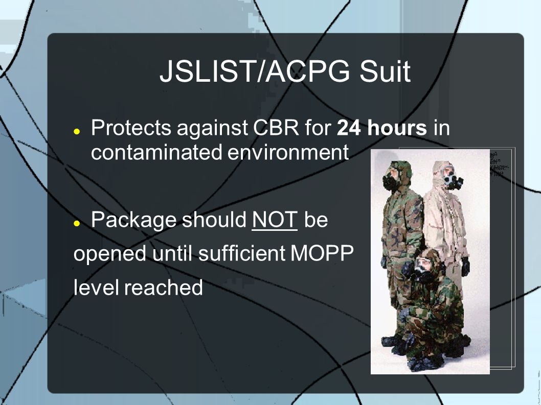 JSLIST/ACPG Suit Protects against CBR for 24 hours in contaminated environment. Package should NOT be.