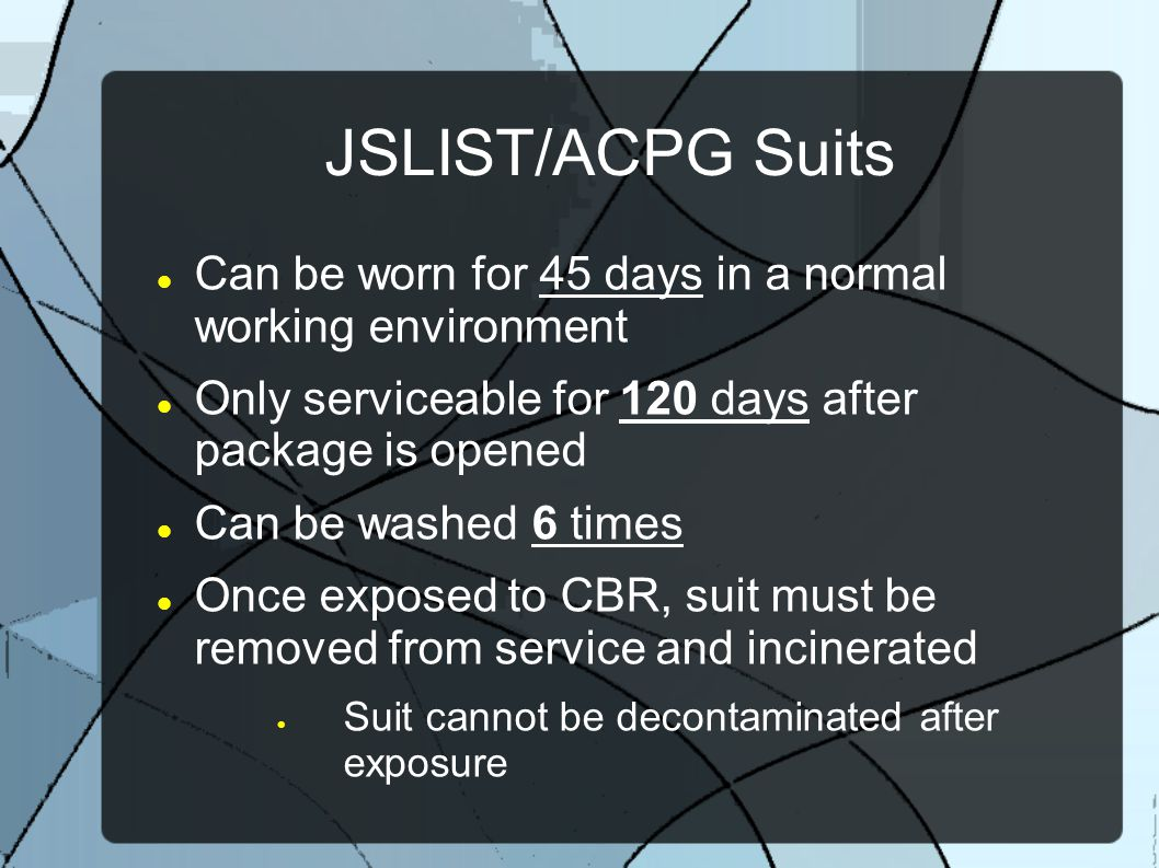 JSLIST/ACPG Suits Can be worn for 45 days in a normal working environment. Only serviceable for 120 days after package is opened.