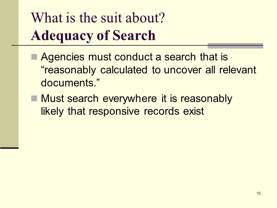 What is the suit about Adequacy of Search
