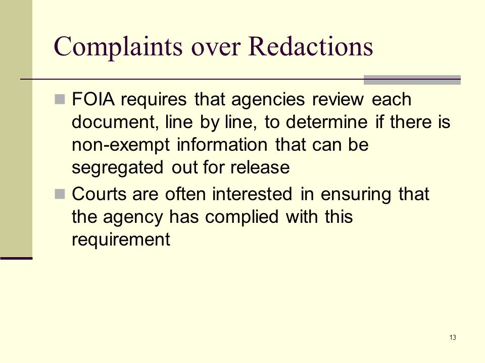 Complaints over Redactions