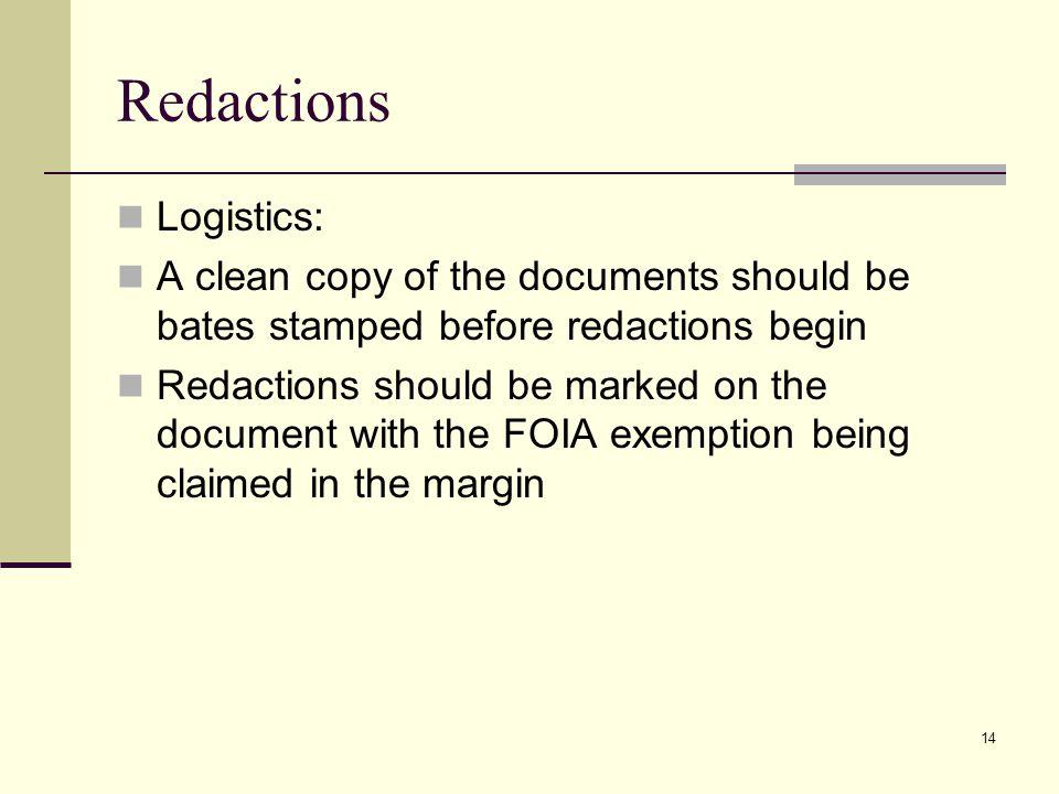 Redactions Logistics: