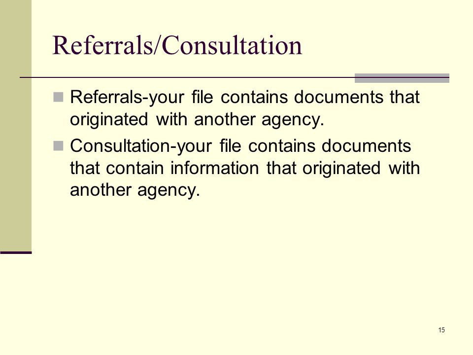Referrals/Consultation
