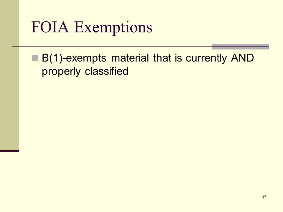 FOIA Exemptions B(1)-exempts material that is currently AND properly classified