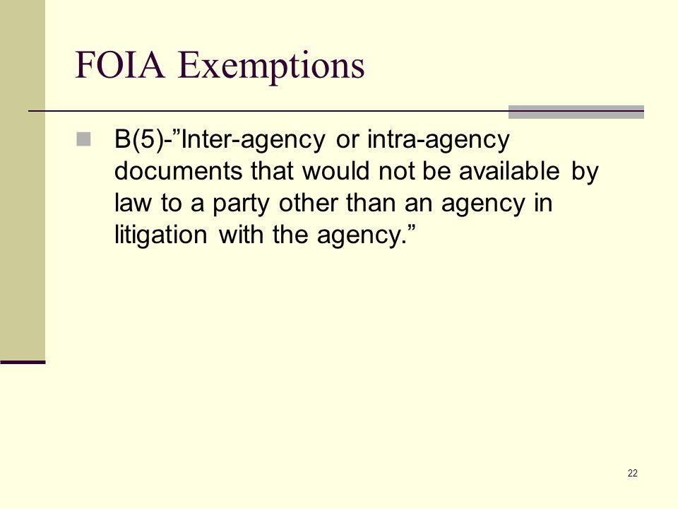 FOIA Exemptions
