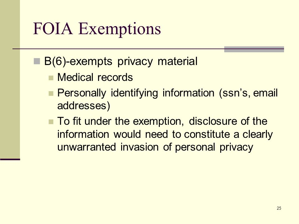 FOIA Exemptions B(6)-exempts privacy material Medical records