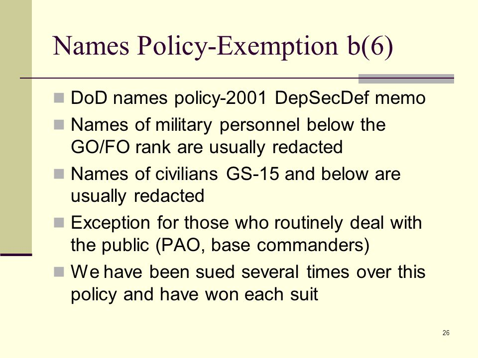 Names Policy-Exemption b(6)