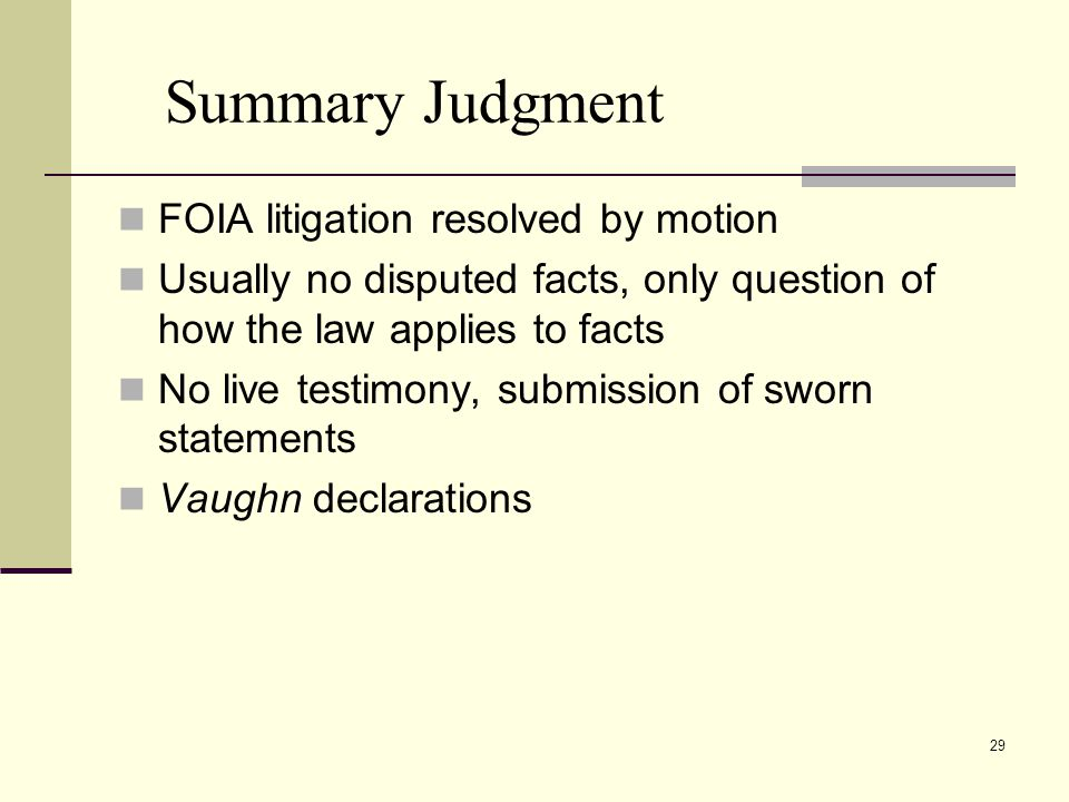 Summary Judgment FOIA litigation resolved by motion