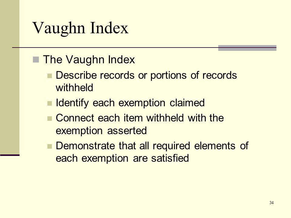 Vaughn Index The Vaughn Index