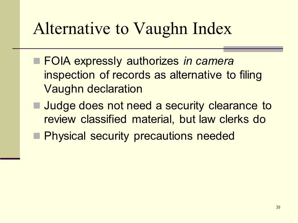 Alternative to Vaughn Index