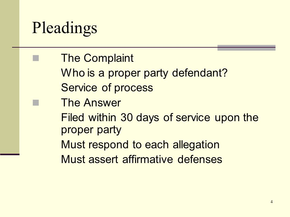 Pleadings The Complaint Who is a proper party defendant