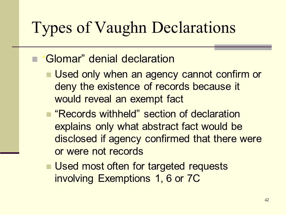 Types of Vaughn Declarations