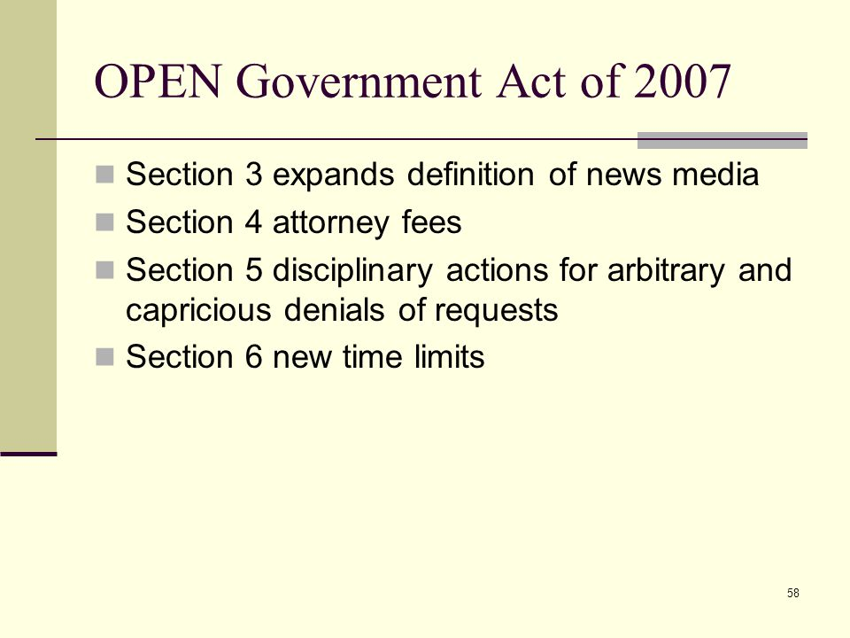 OPEN Government Act of 2007 Section 3 expands definition of news media