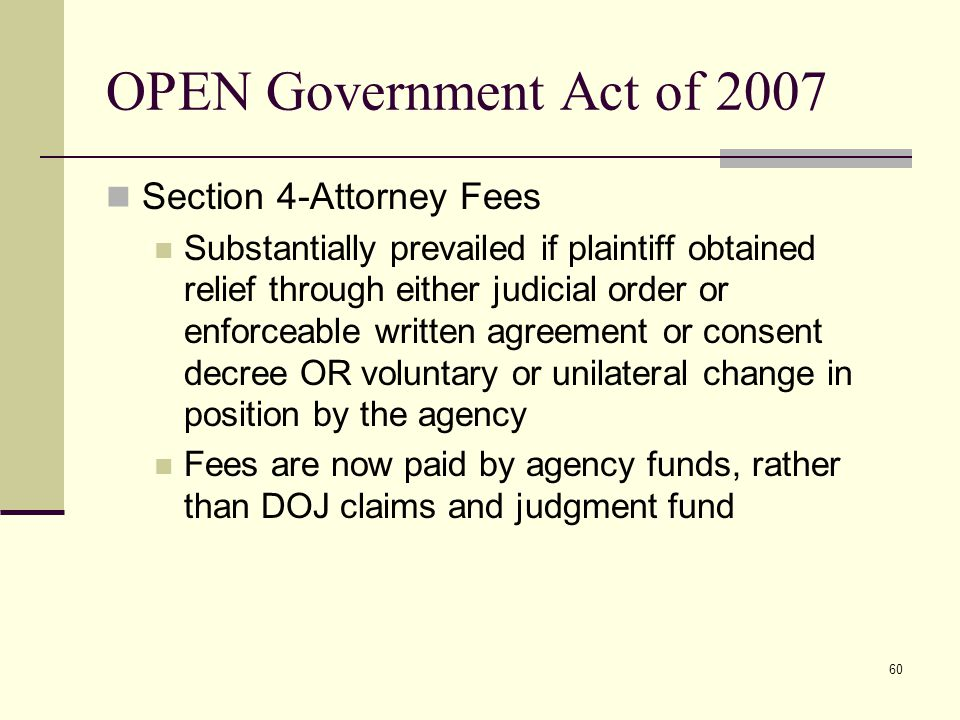 OPEN Government Act of 2007 Section 4-Attorney Fees