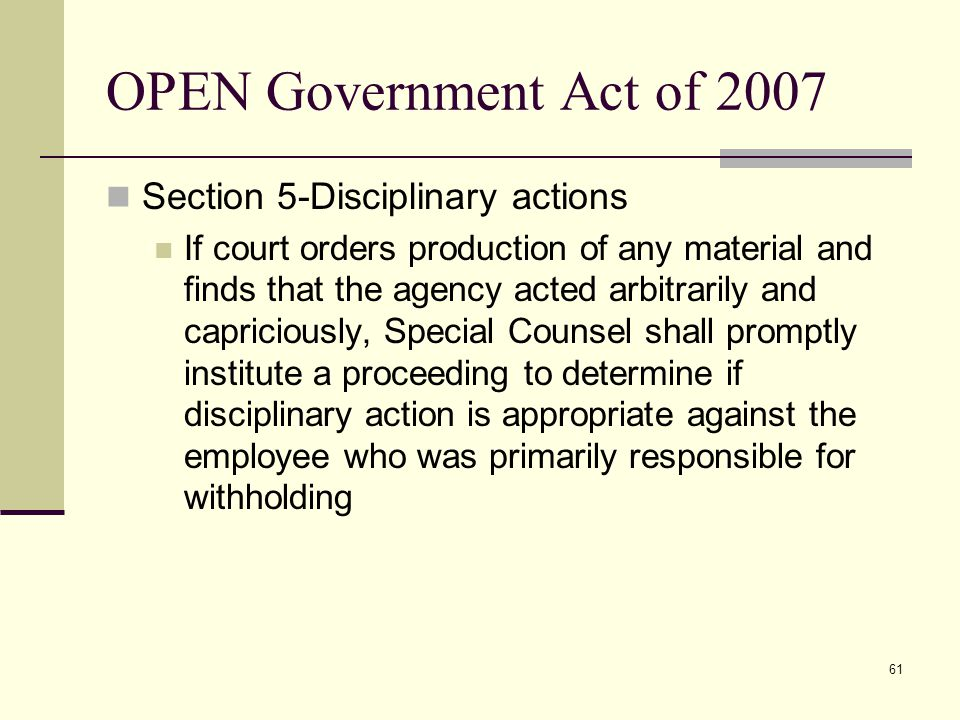 OPEN Government Act of 2007 Section 5-Disciplinary actions
