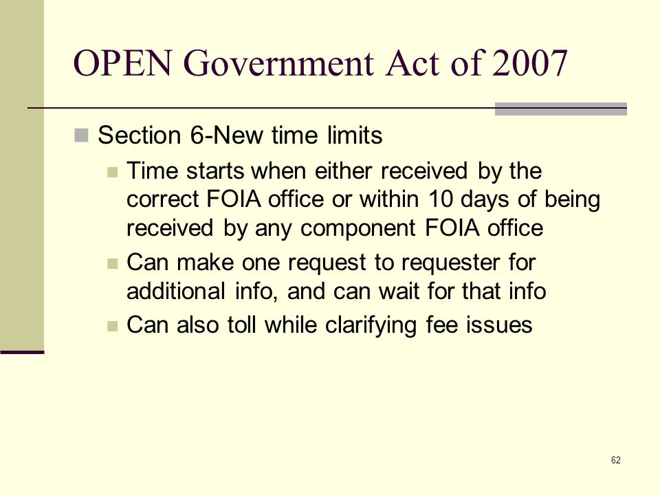 OPEN Government Act of 2007 Section 6-New time limits