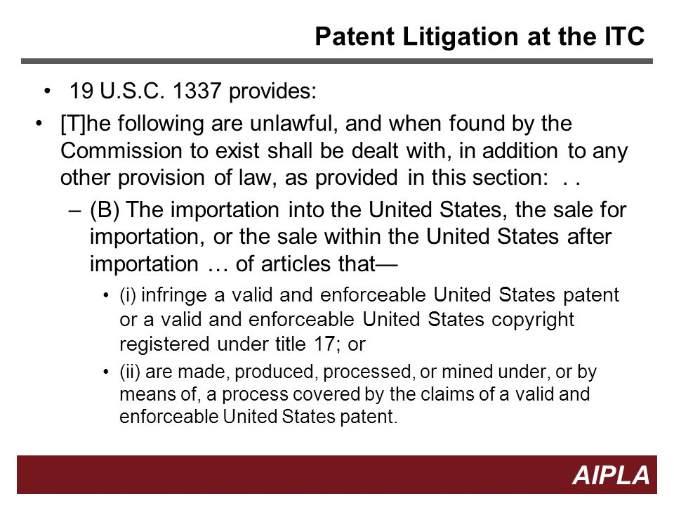 Patent Litigation at the ITC