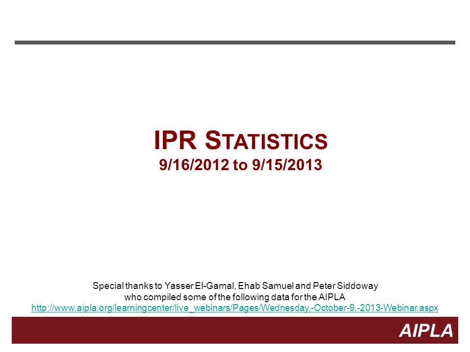 IPR Statistics 9/16/2012 to 9/15/2013. Special thanks to Yasser El-Gamal, Ehab Samuel and Peter Siddoway.