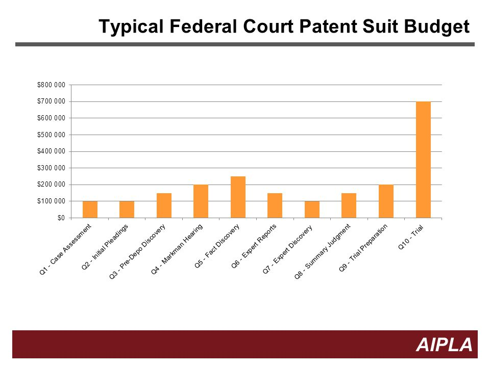 Typical Federal Court Patent Suit Budget