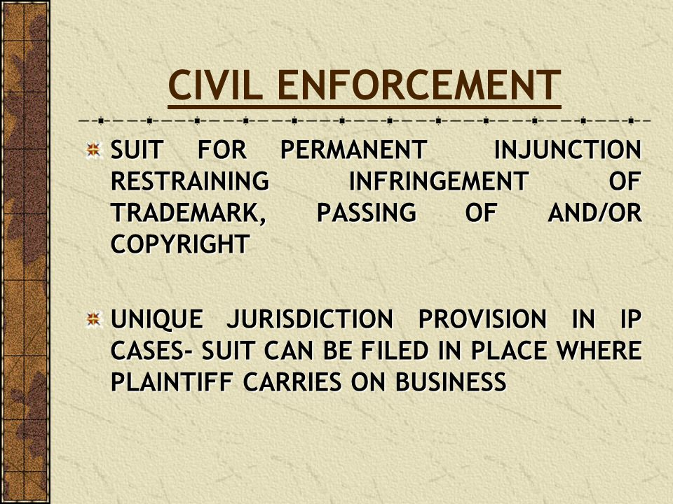 CIVIL ENFORCEMENT SUIT FOR PERMANENT INJUNCTION RESTRAINING INFRINGEMENT OF TRADEMARK, PASSING OF AND/OR COPYRIGHT.