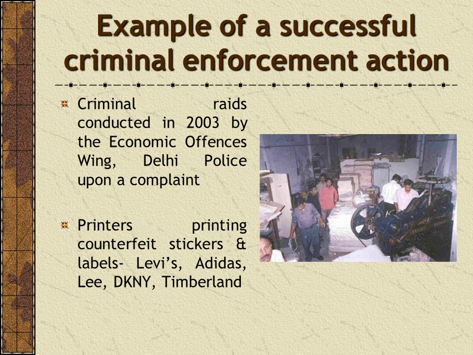 Example of a successful criminal enforcement action