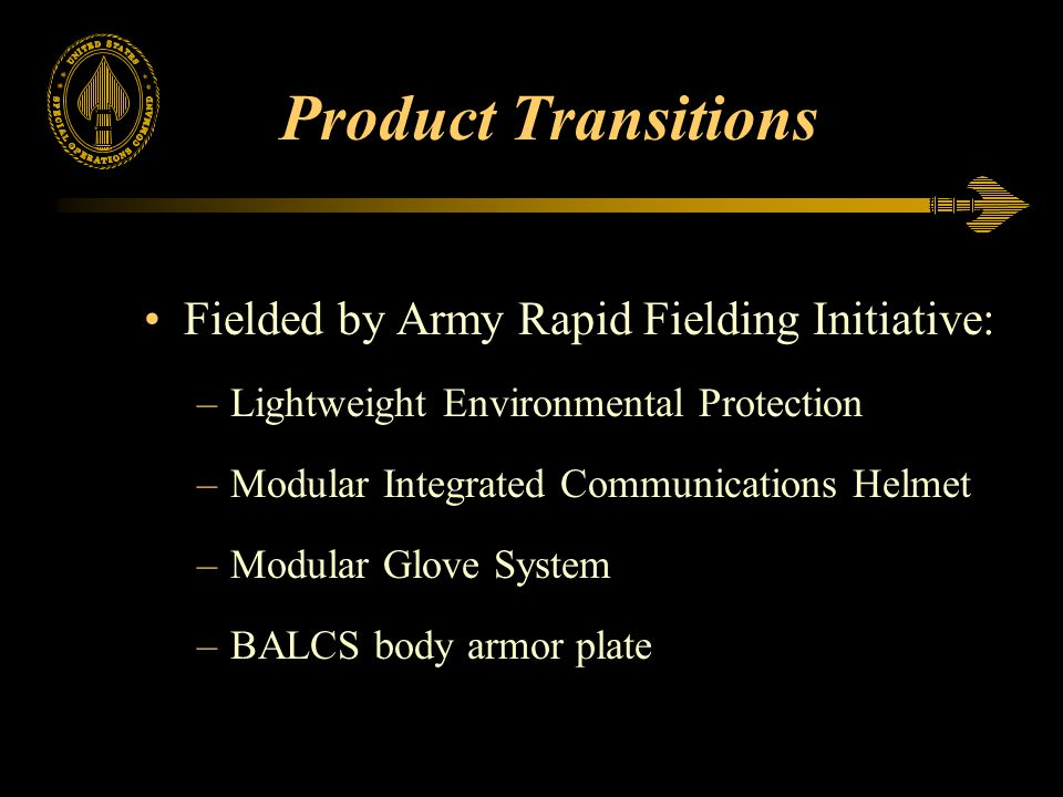 Product Transitions Fielded by Army Rapid Fielding Initiative: