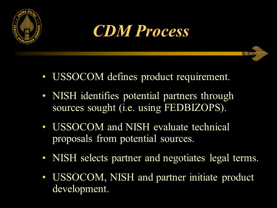CDM Process USSOCOM defines product requirement.