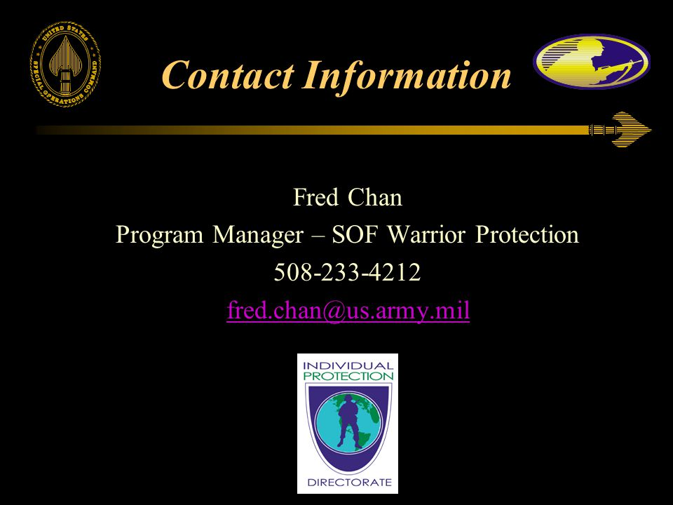Program Manager – SOF Warrior Protection