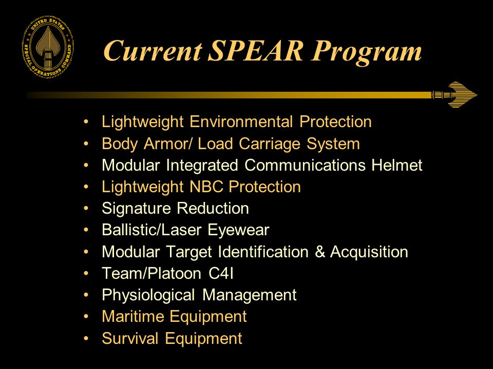 Current SPEAR Program Lightweight Environmental Protection