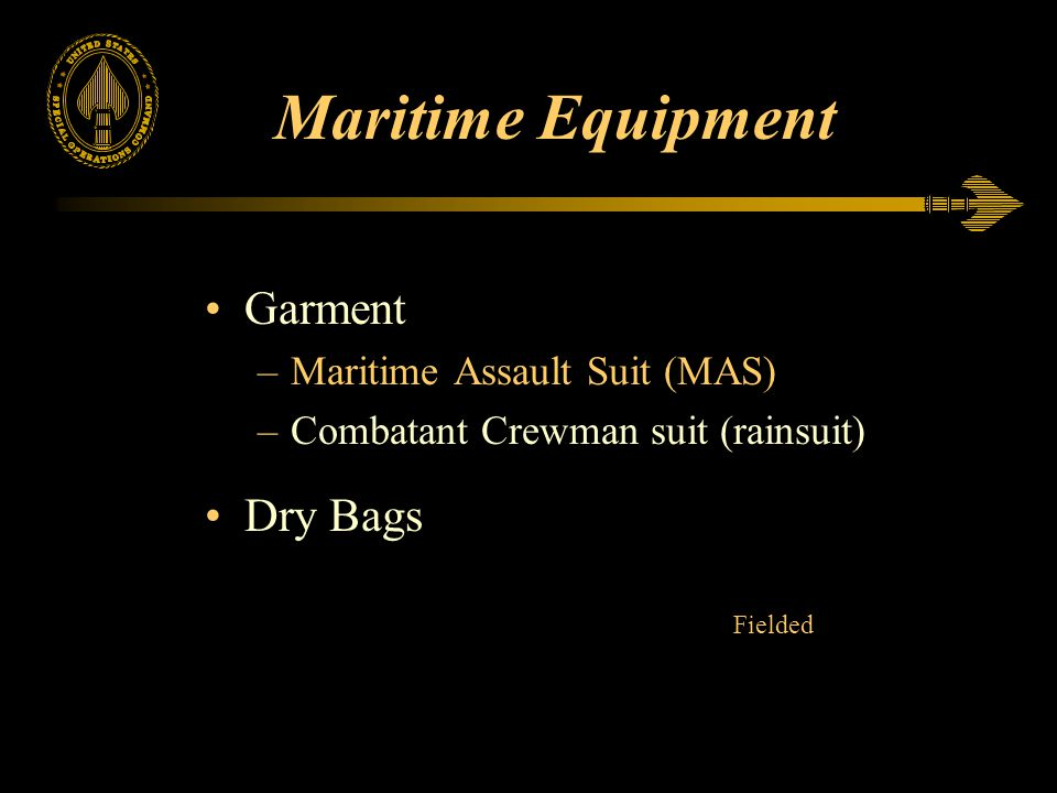 Maritime Equipment Garment Dry Bags Maritime Assault Suit (MAS)