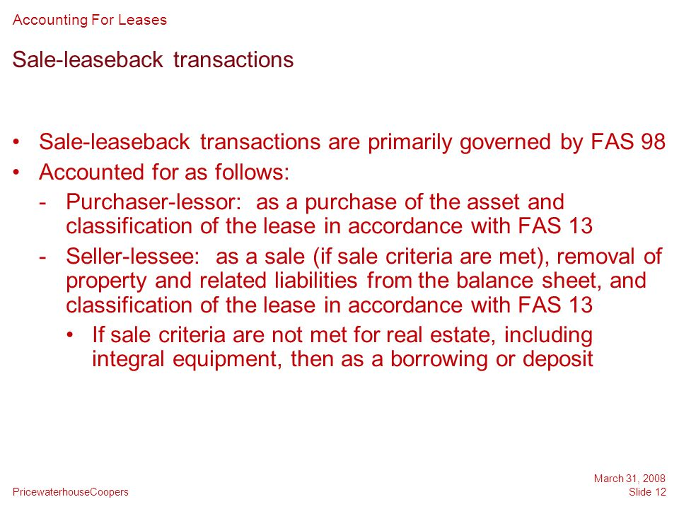 Sale-leaseback transactions