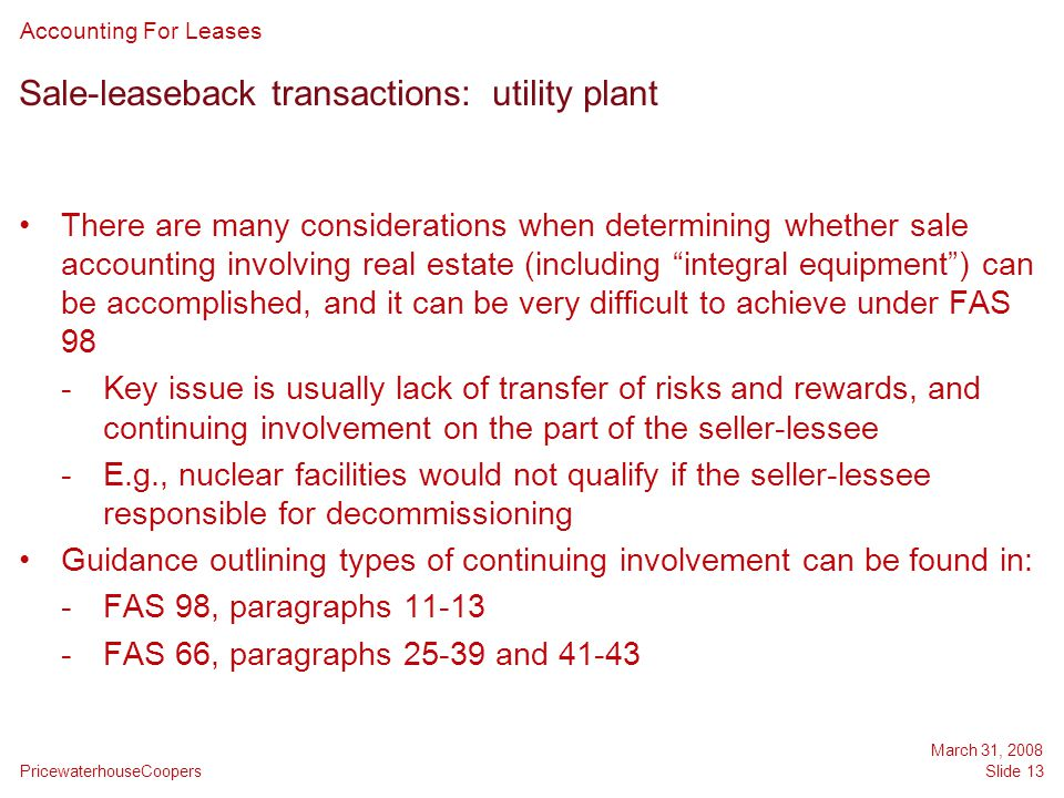 Sale-leaseback transactions: utility plant