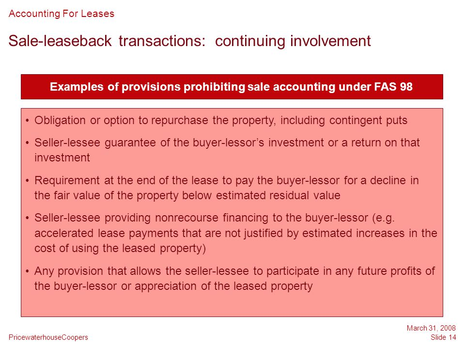 Sale-leaseback transactions: continuing involvement