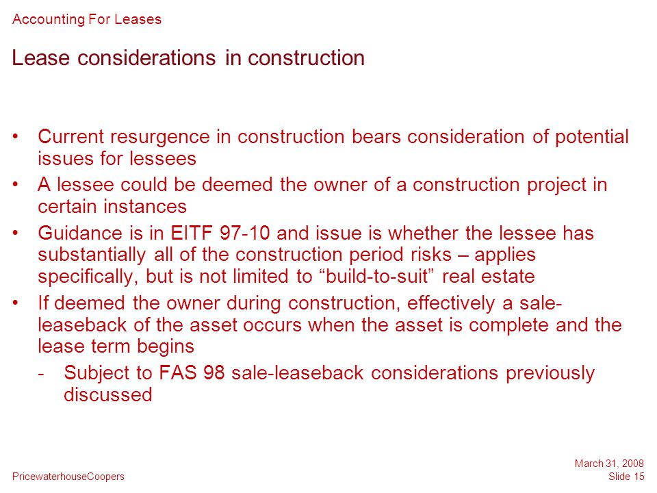 Lease considerations in construction