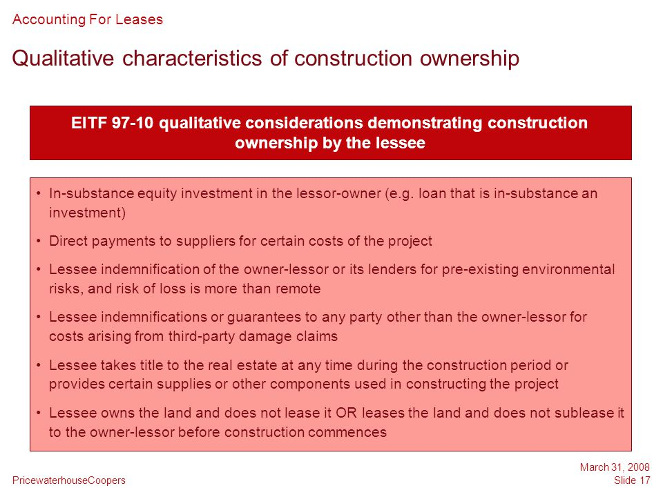 Qualitative characteristics of construction ownership