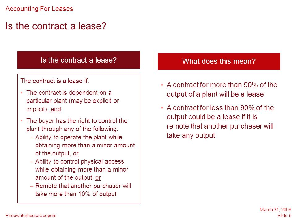 Is the contract a lease Is the contract a lease What does this mean