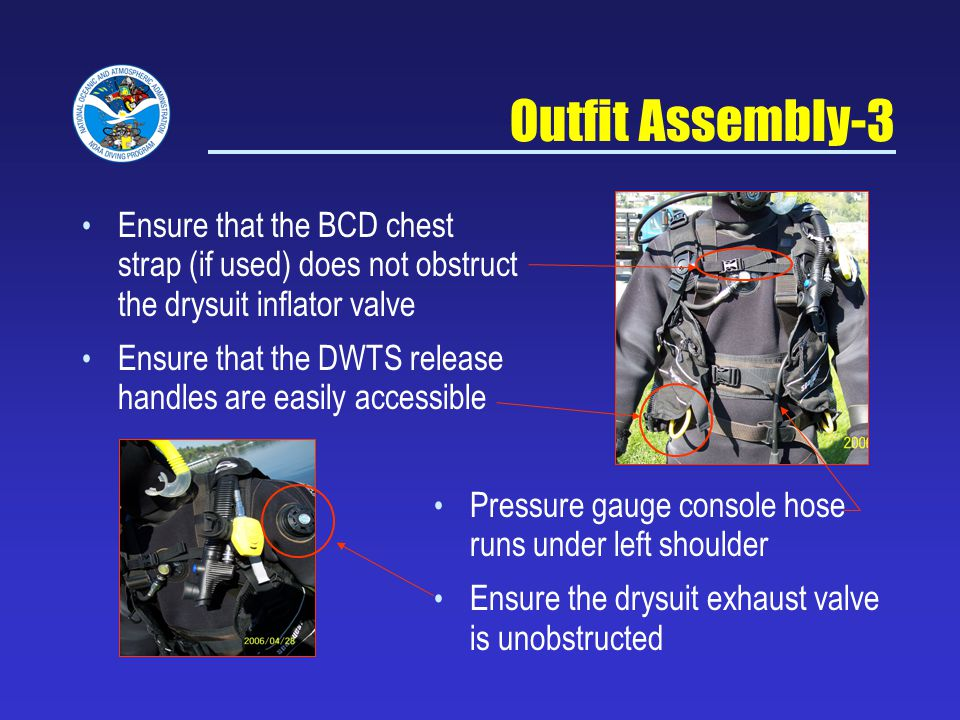 NOAA Diving Program Sept 5, 2007. Outfit Assembly-3. Ensure that the BCD chest strap (if used) does not obstruct the drysuit inflator valve.