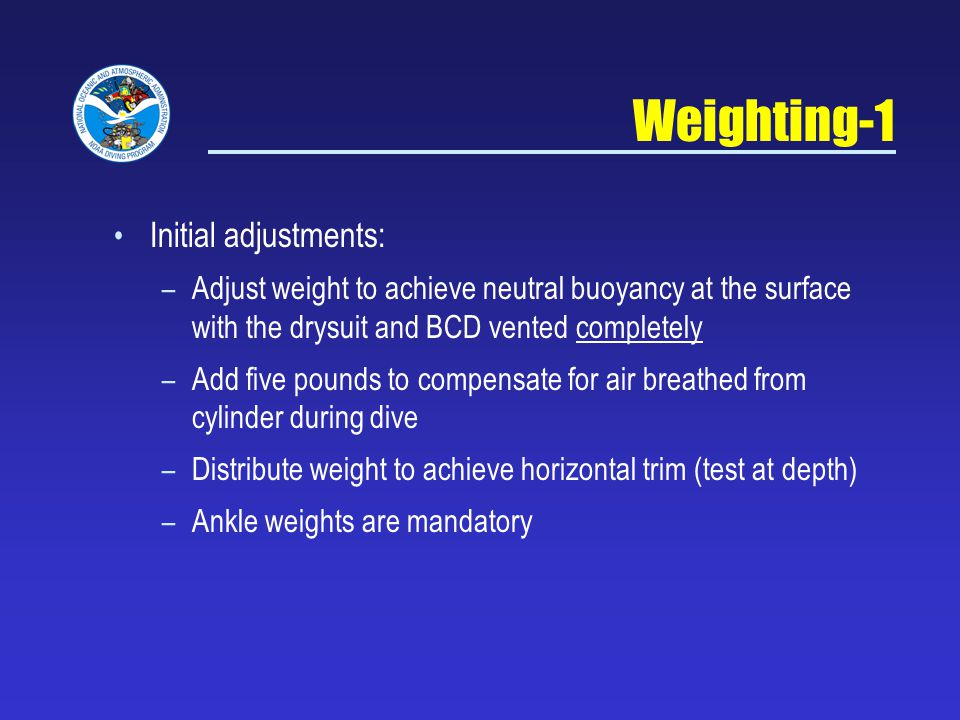 Weighting-1 Initial adjustments: