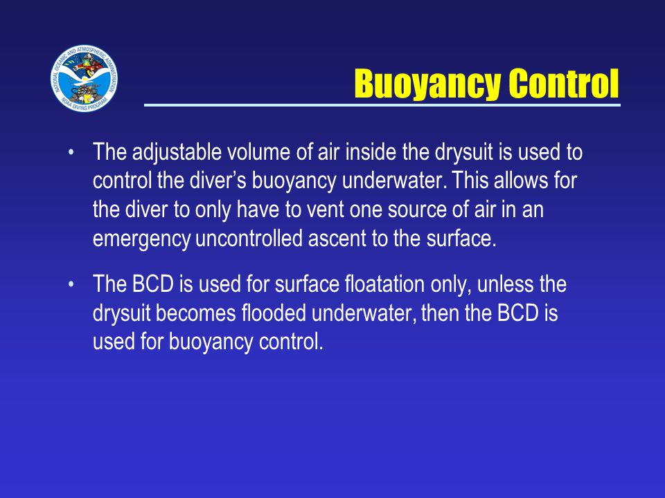 NOAA Diving Program Sept 5, 2007. Buoyancy Control.