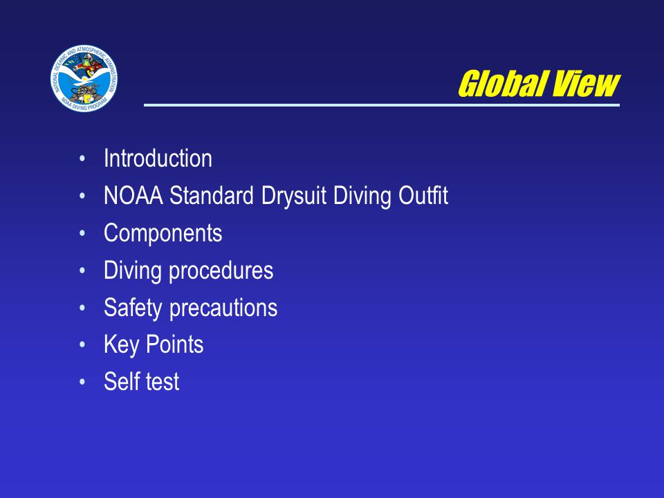 Global View Introduction NOAA Standard Drysuit Diving Outfit