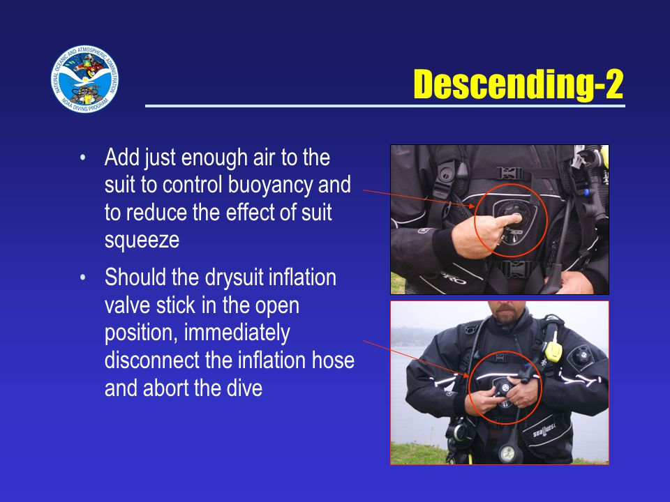 Descending-2 Add just enough air to the suit to control buoyancy and to reduce the effect of suit squeeze.
