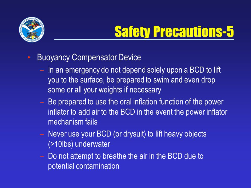 Safety Precautions-5 Buoyancy Compensator Device