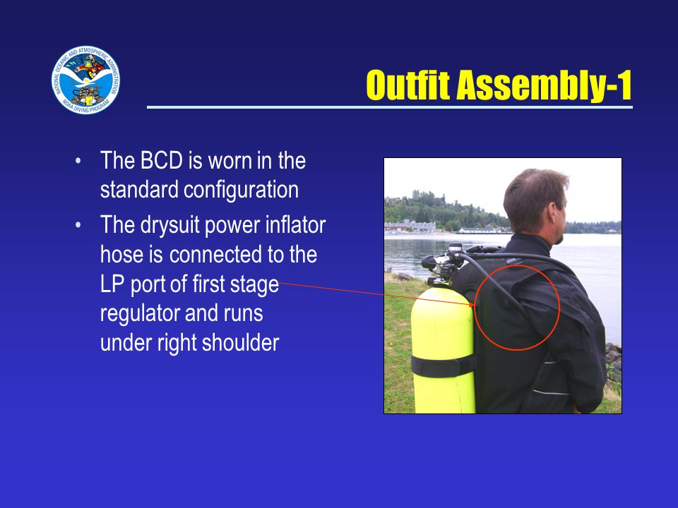 Outfit Assembly-1 The BCD is worn in the standard configuration