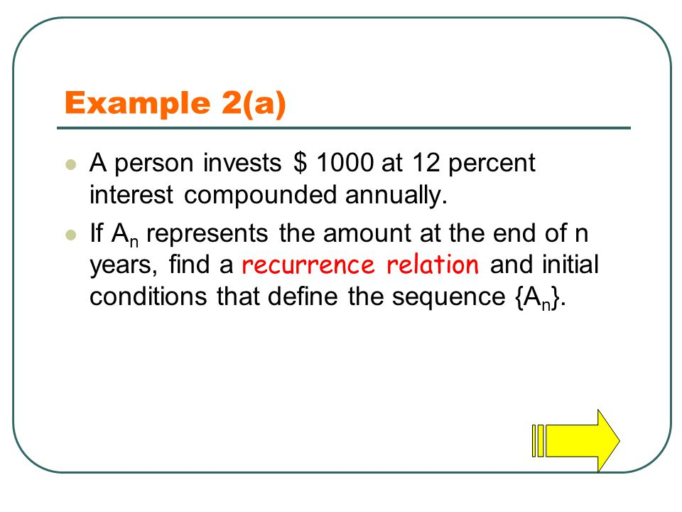 Example 2(a) A person invests $ 1000 at 12 percent interest compounded annually.