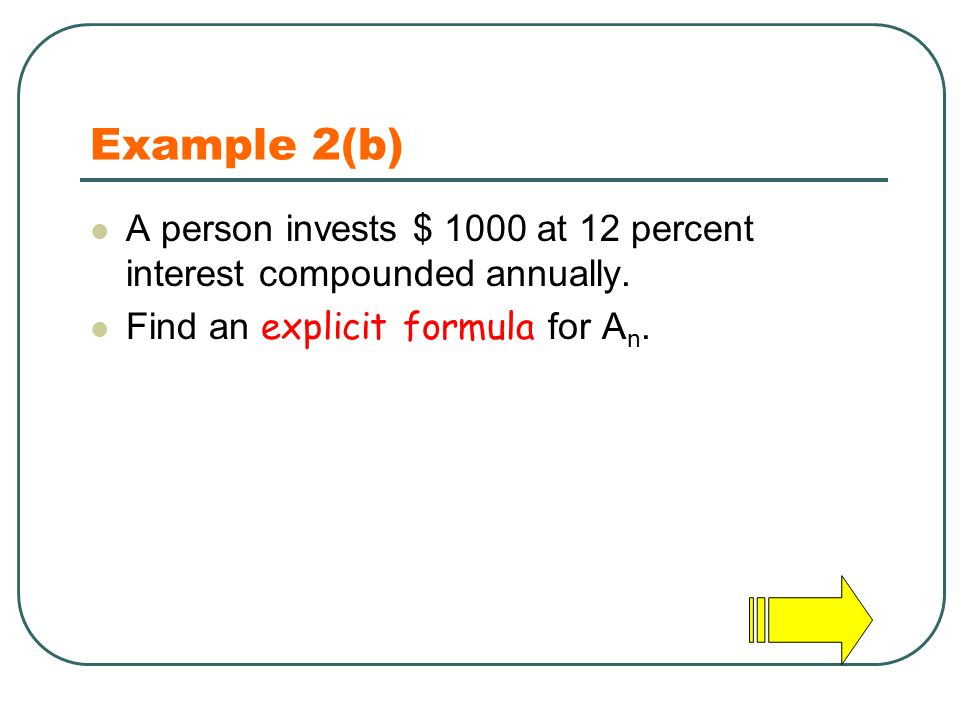 Example 2(b) A person invests $ 1000 at 12 percent interest compounded annually.