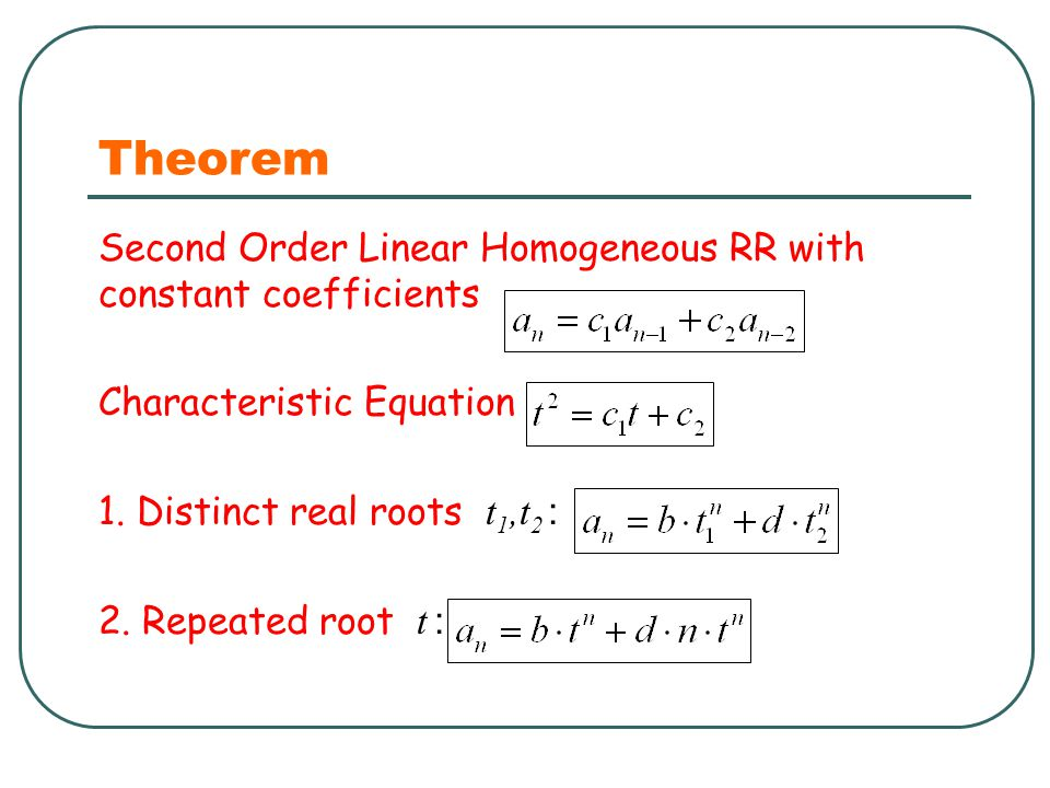 Theorem Second Order Linear Homogeneous RR with constant coefficients