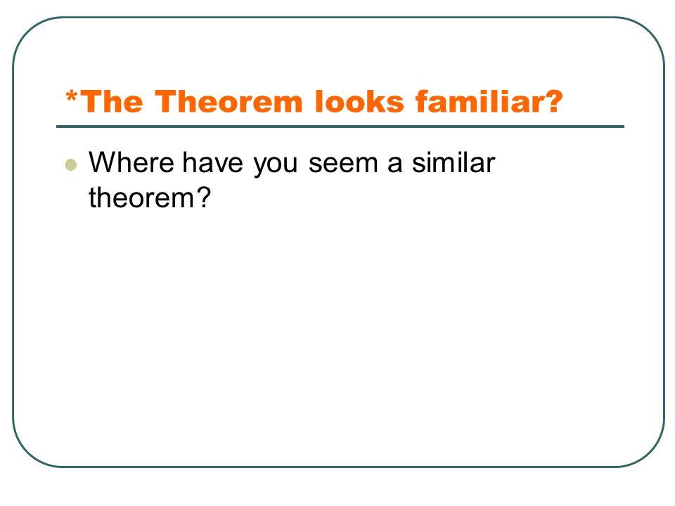 *The Theorem looks familiar
