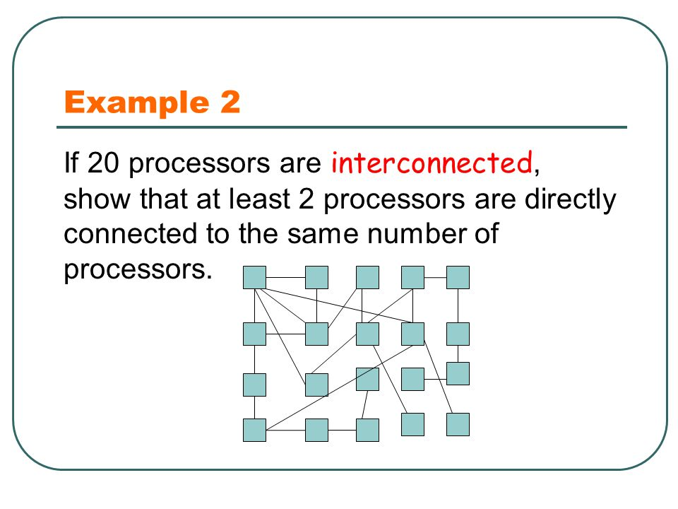 Example 2 If 20 processors are interconnected, show that at least 2 processors are directly connected to the same number of processors.