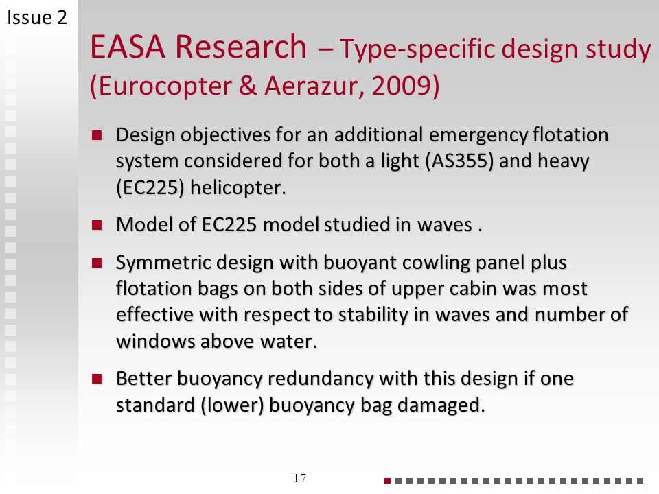 Issue 2 EASA Research – Type-specific design study (Eurocopter & Aerazur, 2009)